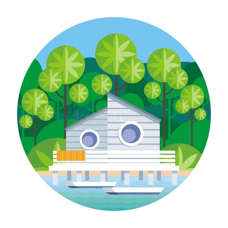 Het huis door het overzees royalty-vrije illustratie