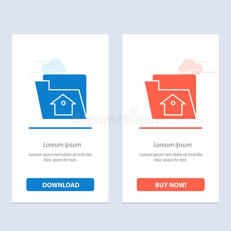 Het huis, het Dossier, het Plaatsen, de de Dienst Blauwe en Rode Download en kopen nu de Kaartmalplaatje van Webwidget vector illustratie