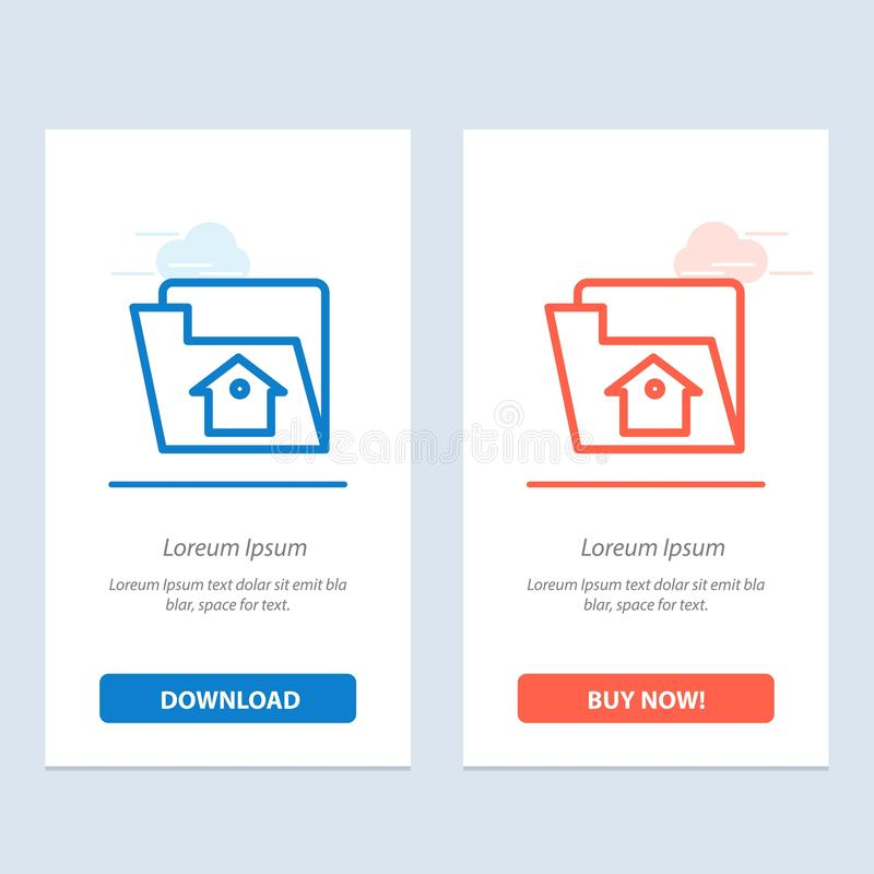 Het huis, het Dossier, het Plaatsen, de de Dienst Blauwe en Rode Download en kopen nu de Kaartmalplaatje van Webwidget stock illustratie