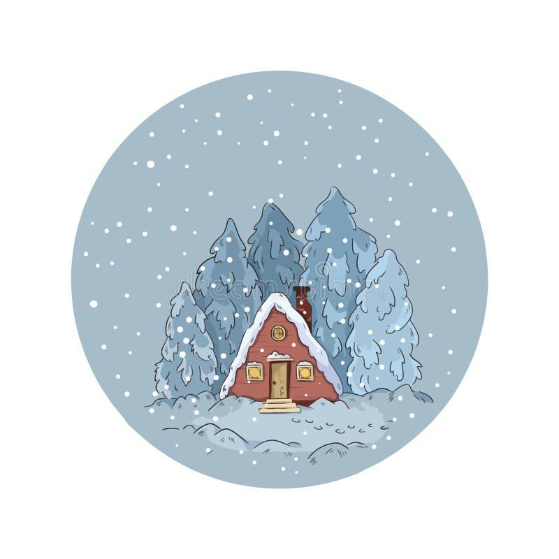 Het huis en de pijnboombomen van de de winterscène in een sneeuwbol royalty-vrije illustratie