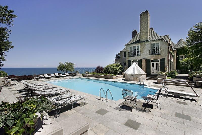 Het huis en de pool van de luxe stock foto