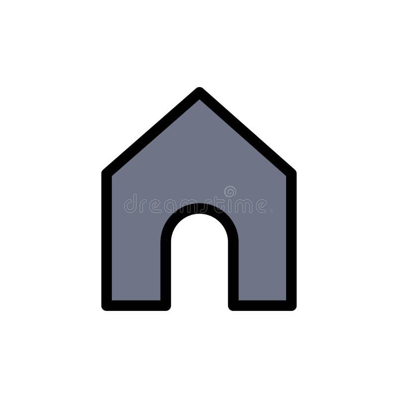Het huis, Instagram, zet Vlak Kleurenpictogram om Het vectormalplaatje van de pictogrambanner stock illustratie