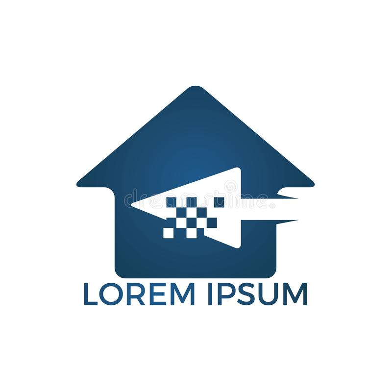 Het huis klikt Logo Design Van het pixelpijl en hart embleemontwerp stock illustratie
