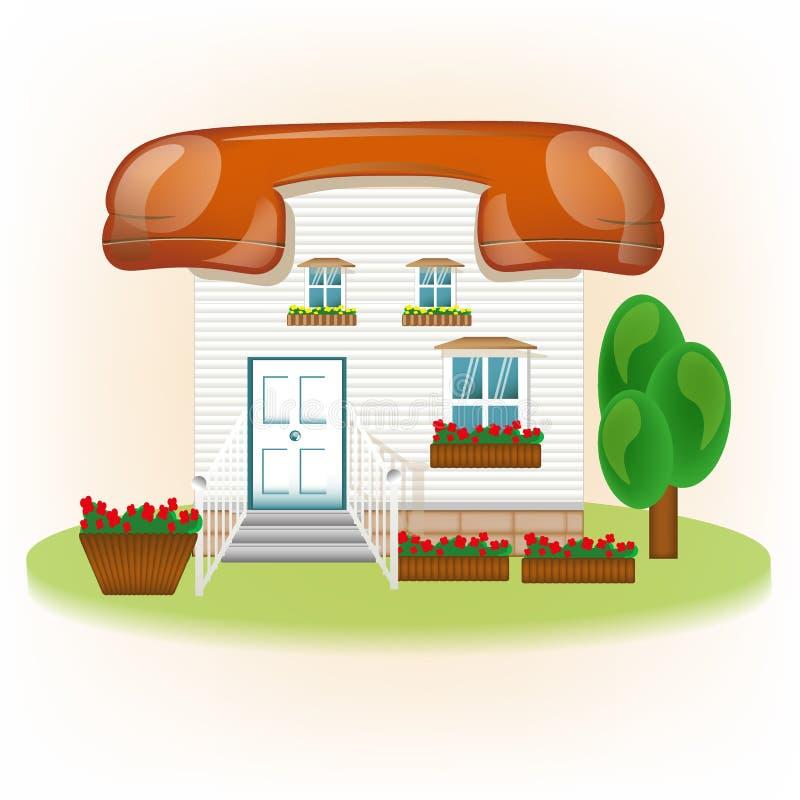 Het huis met dak telephon, verbindt conceptie royalty-vrije illustratie