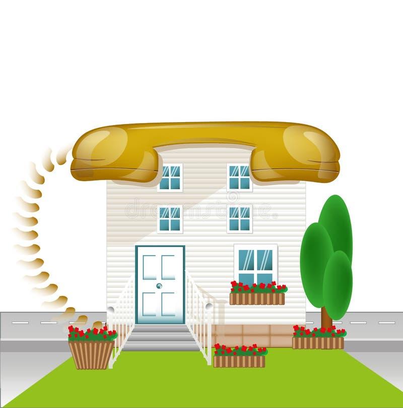 Het huis met dak telephon, verbindt conceptie, ver*binden-huispictogram stock illustratie