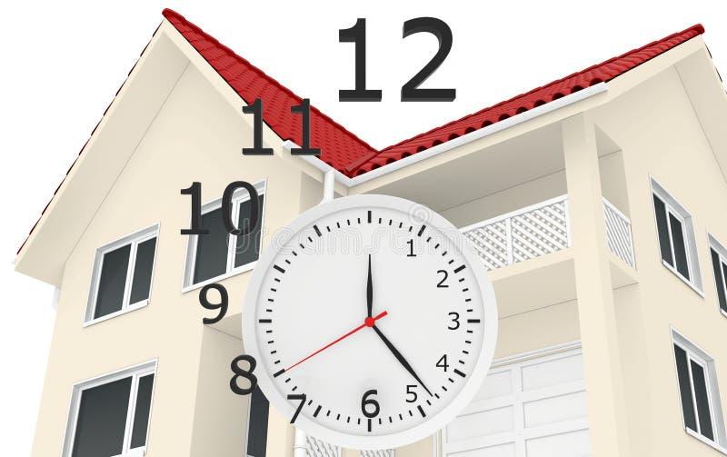 Het huis met het rode dak en klokaantallen vliegen royalty-vrije stock afbeeldingen