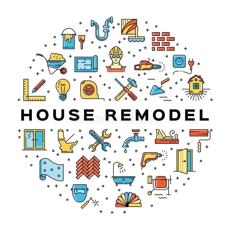 Het huis remodelleert de Bouwpictogram van cirkelinfographics Pictogrammen van de de lijnkunst van de huisreparatie de dunne Vect vector illustratie