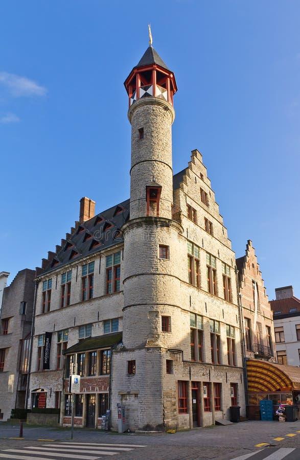 Het huis Toreken van het looiersgilde (1450) Gent, Oost-Vlaanderen, Belgiu stock afbeelding