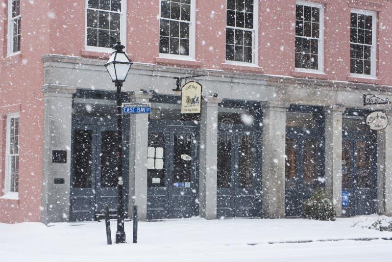 Het Huis van de de Baaivergadering van het oosten, Sneeuwstorm in Charleston, Sc royalty-vrije stock afbeelding
