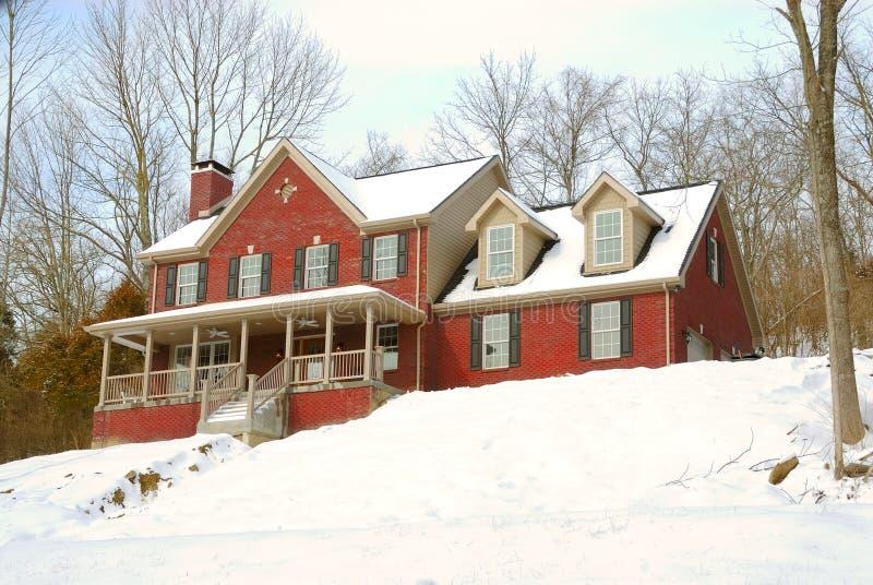 Het Huis van de baksteen op een SneeuwHelling stock fotografie