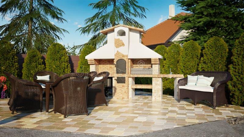 Het huis van de de luxefamilie van barbecuegazebo vector illustratie