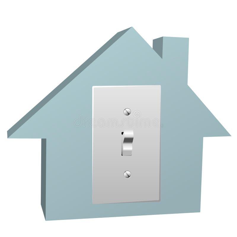 Het huis van de elektriciteit schakelt thuis elektrisch licht in stock illustratie