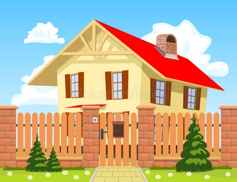 Het huis van de familie achter de houten omheining met de poort. vector illustratie