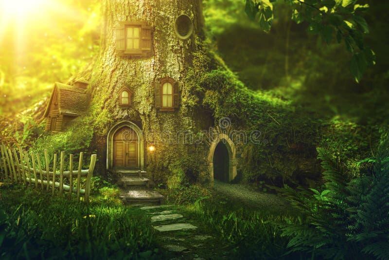 Het huis van de fantasieboom royalty-vrije stock afbeelding