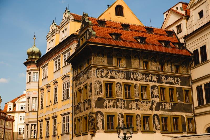 Het huis van de Kafkafamilie op Oud Stadsvierkant in Praag, Tsjechische Republiek royalty-vrije stock fotografie