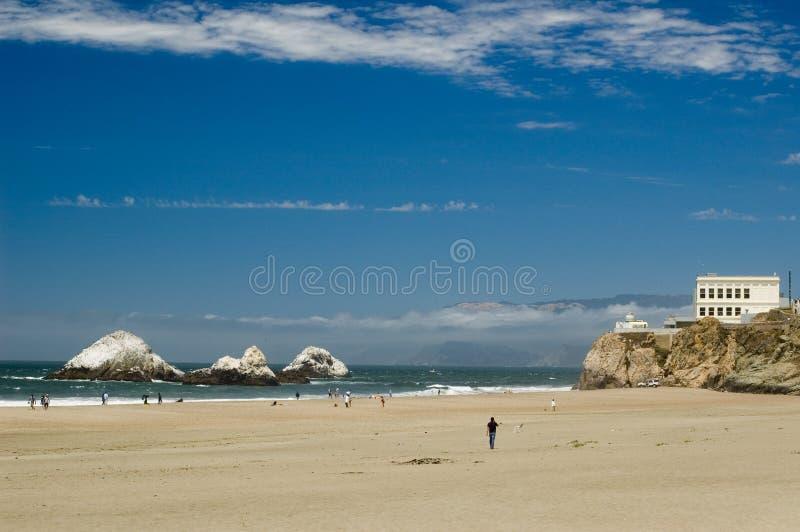 Het Huis van de klip en Vreedzame Oceaan van San Francisco stock afbeelding