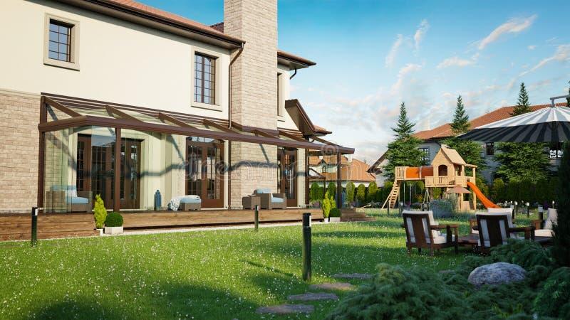 Het huis van de luxefamilie met het modelleren stock illustratie