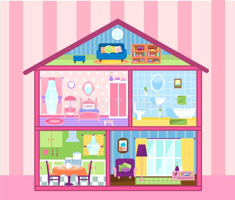 Het huis van de meisjespop vector illustratie