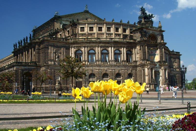 Het Huis van de Opera van Semper stock foto