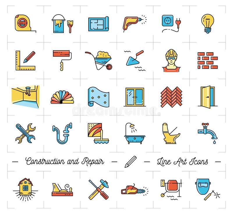 Het huis van de pictogrammenreparatie, flat De symbolen van reparatiehulpmiddelen De kunstpictogrammen van de bouw dunne lijn royalty-vrije illustratie