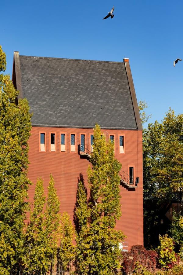 Het huis van de Portikustentoonstelling voor eigentijdse kunst Frankfurt Duitsland stock fotografie