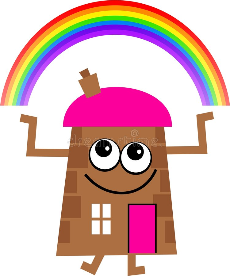 Het huis van de regenboog stock illustratie