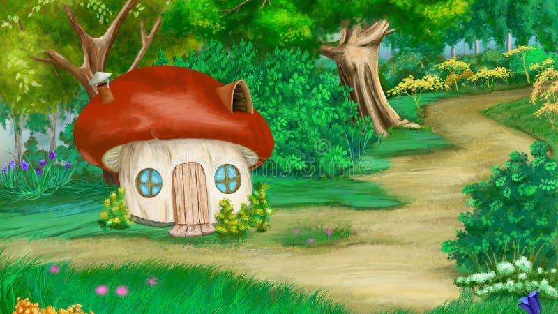 Het Huis van de sprookjepaddestoel in een de Zomerbos royalty-vrije illustratie
