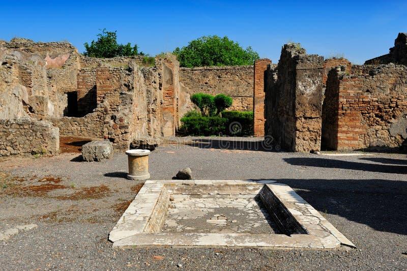 Het Huis van de Tragische Dichter, Pompei stock foto's