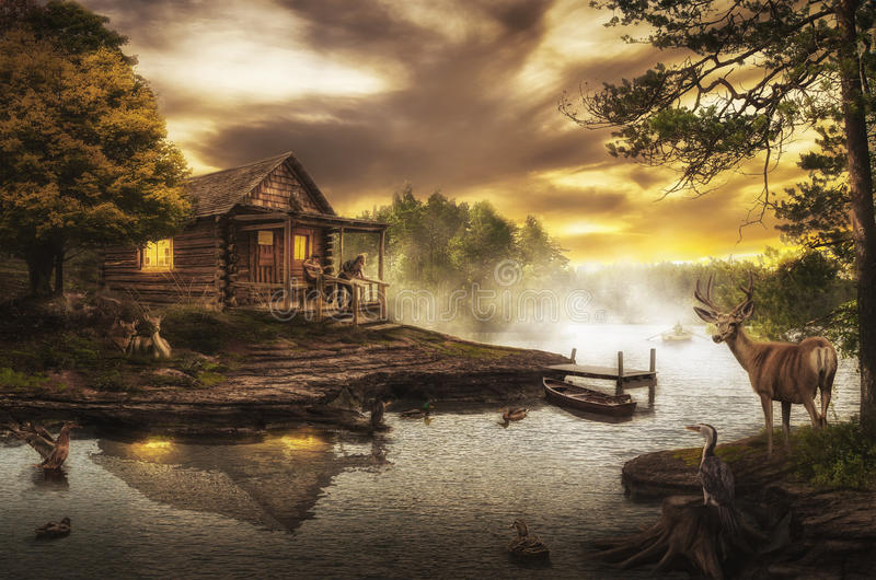 Het huis van de visser royalty-vrije illustratie