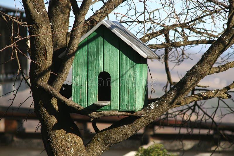 Het huis van de vogel op de boom stock afbeeldingen