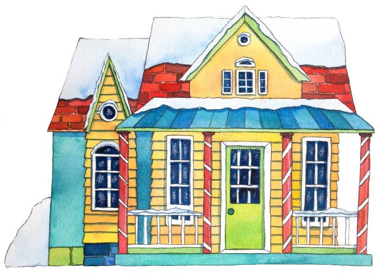 Het Huis van de waterverfwinter Hand getrokken waterverfillustratie vector illustratie