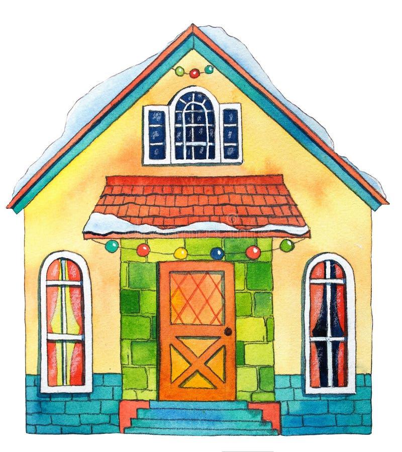 Het Huis van de waterverfwinter Hand getrokken waterverfillustratie stock illustratie