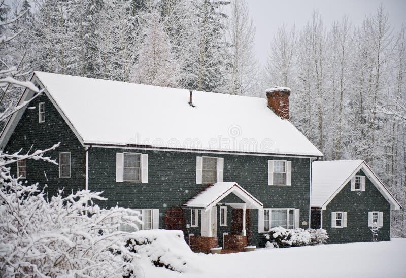 Het huis van de winter royalty-vrije stock afbeeldingen