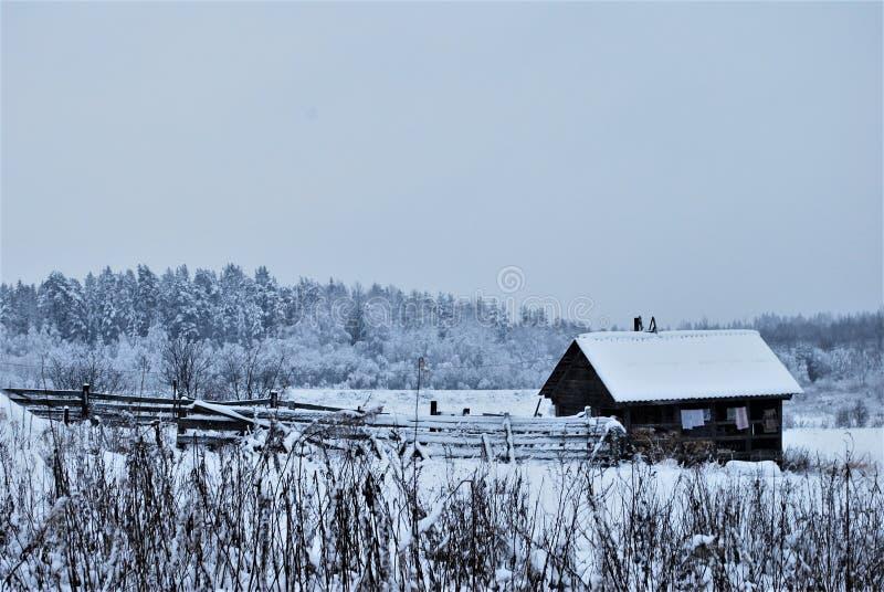 Het huis van het de winterdorp stock fotografie