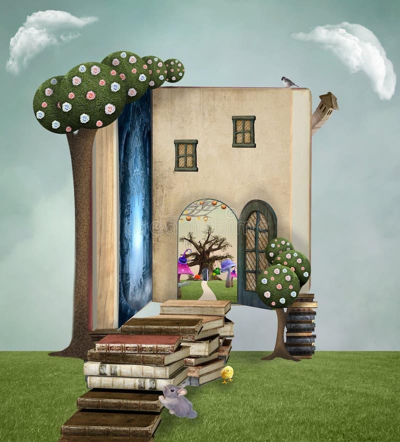 Het huis van het fantasieboek met surreal bomen royalty-vrije illustratie