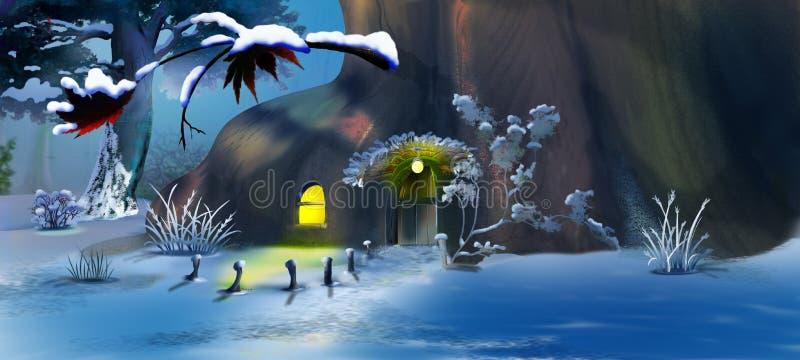 Het Huis van Forest Gnome ` s in de Nieuwjaar` s Vooravond stock illustratie