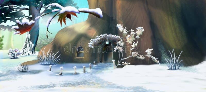 Het Huis van Forest Gnome ` s in een de Winterdag royalty-vrije illustratie