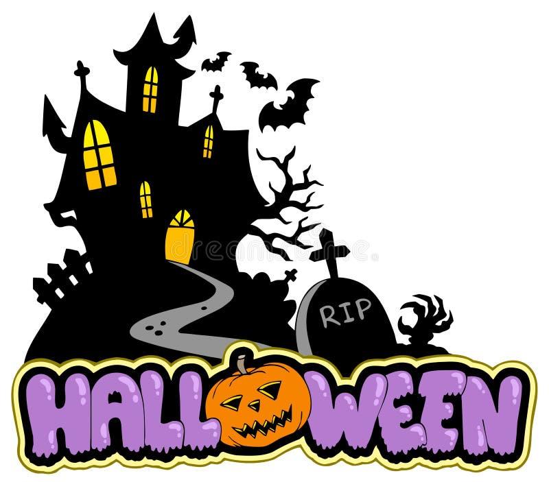 Het huis van Halloween met teken 2 royalty-vrije illustratie