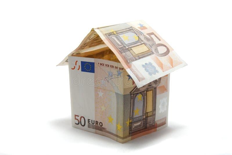 het huis van het 50 eurobankbiljet royalty-vrije stock foto