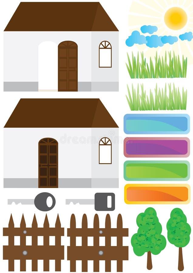 Het Huis van het Huis van het landgoed buiten Elements_eps royalty-vrije illustratie