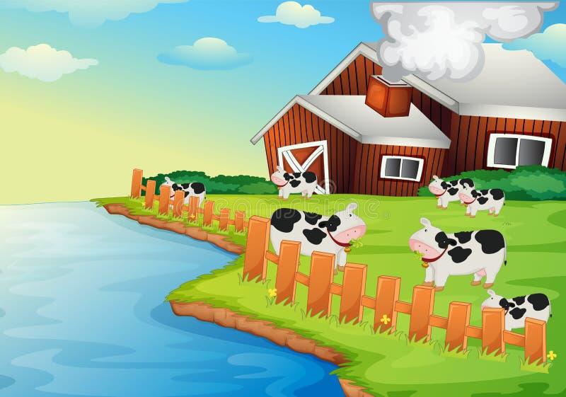 Het huis van het landbouwbedrijf royalty-vrije illustratie