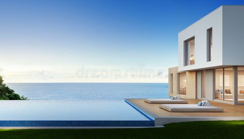 Het huis van het luxestrand met overzees menings zwembad en terras