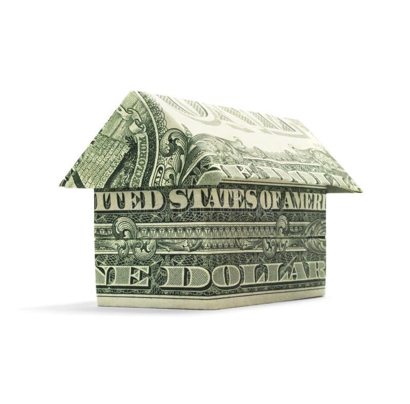 Het Huis van het origamicontante geld stock afbeelding