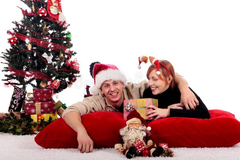 Het huis van Kerstmis van het paar royalty-vrije stock foto's