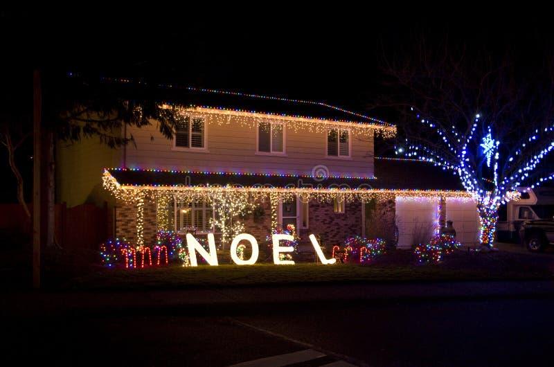 Het huis van Kerstmislichten royalty-vrije stock afbeeldingen