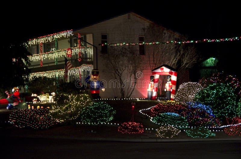 Het huis van Kerstmislichten royalty-vrije stock afbeelding