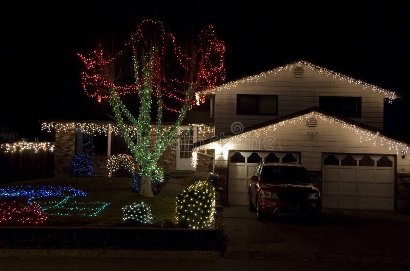 Het huis van Kerstmislichten royalty-vrije stock foto's