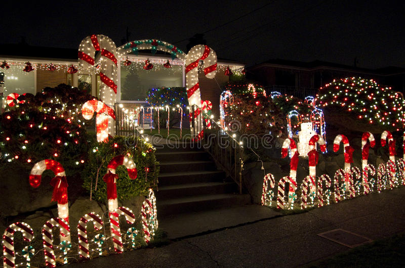 Het huis van Kerstmislichten royalty-vrije stock fotografie