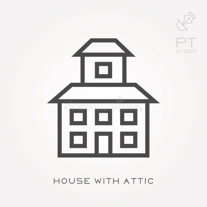 Het huis van het lijnpictogram met zolder vector illustratie
