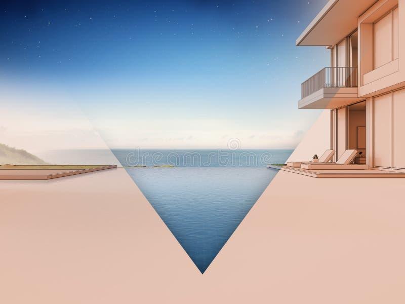 Het huis van het luxestrand met overzees menings zwembad en terras in modern ontwerp vector illustratie